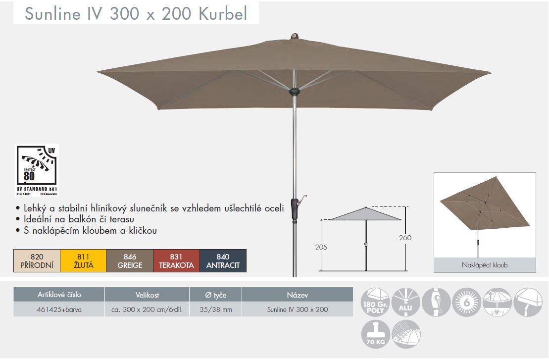 Slunečník Sunline IV 300x200 Kurbel DOPPLER