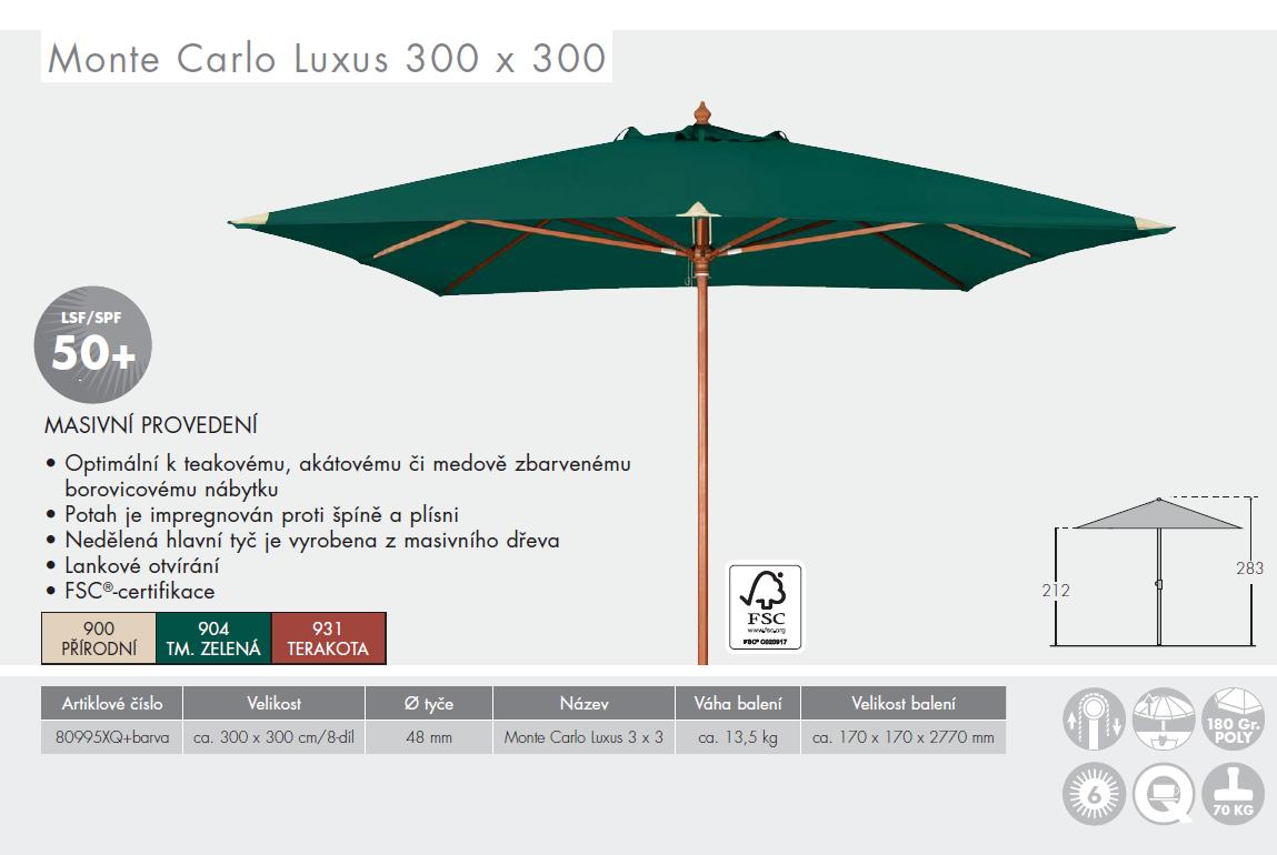 Slunečník Monte Carlo Luxus 3x3 DOPPLER